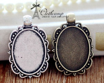 10pcs 18x25mm Antique Bronze/Antique Silver/ Cabochon Setting Cameo Base frame Base for making necklaces/ pendants(SETHY-231)