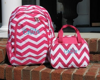 Personalized  Girls  Backpack   Pink  Chevron Backpack and Lunch Box Set