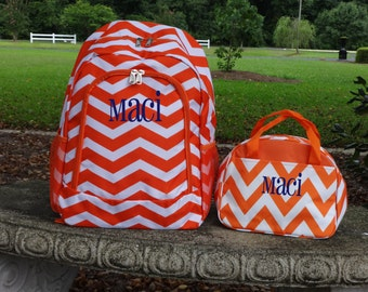 Personalized  Girls  Backpack   ORANGE  Chevron Backpack and Lunch Box Set
