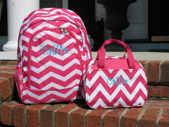 Personalized Girls Backpack Pink Chevron Backpack and