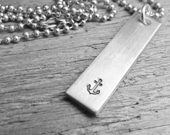 ANCHOR Necklace ONE Tag Hand Stamped Rectangle Bar Jewelry Charm Aluminum Personalized Stainless Steel Chain Anniversary Gift Boyfriend