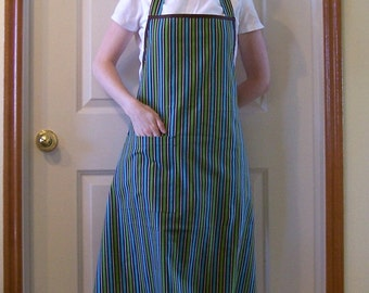 Full Apron for Women in a Blue, Brown and Green Striped Fabric with Pocket and Brown Ties - Woman's Apron, Butcher Apron, Simple Apron