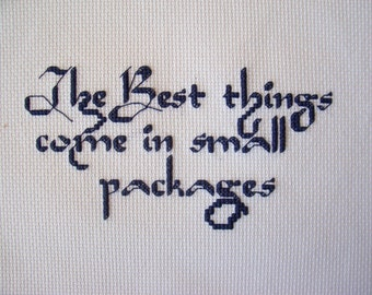 """Completed Cross Stitch Phrase """"The Best things come in small packages"""" - Finished Cross Stitch, Christmas X Stitch"""