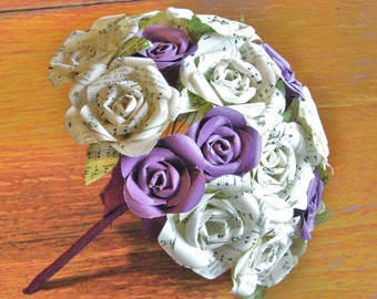 The Roya bridal wedding bouquet vintage hymnal sheet music paper roses toss bridesmaid recycled