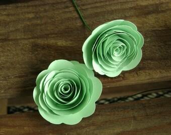 "bulk listing for 100 mint green 1- 1 1/2"" spiral rose rolled rose paper flower wedding decorations"