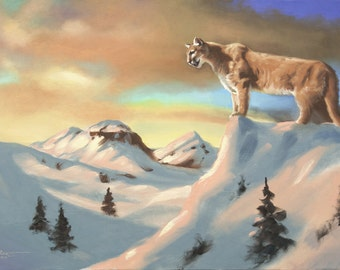 Cougar Mountain lion Panther Puma wildlife animal 24x36 oil painting by RUSTY RUST / C-101