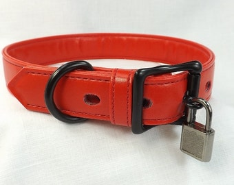 Locking Collar Red leather collar locking slave collar mature submissive collar bdsm collar fetish collar bondage collar pinchthemuse choker