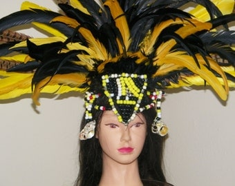 """Aztec Feather Headdress 35"""" feathers"""