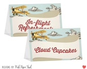 Food Tent Cards - Vintage Retro Airplane Themed - Customizable Menu - Printable Buffet Signs