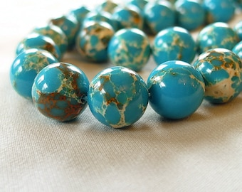 "12mm Turquoise Blue Impression Jasper Round Stone Beads,  full 16"" strand, 33 beads"