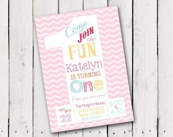 1st Birthday Girl Party Invitation 3 designs