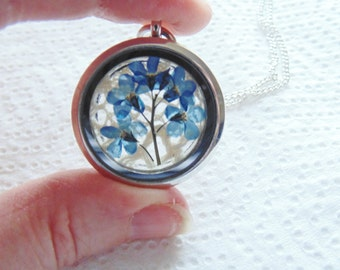 Forget me Not Necklace, Locket Necklace, Pressed Flower Necklace, Bridesmaid Jewelry, Remembrance Gift, Jewelry for Women