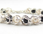 Reserved: Sterling Silver Fill Captive Crystal Chainmaille Bracelet