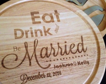 5 piece Personalized Cutting Board/Cheesetray - Custom Engraved  - Monogrammed -  Wedding Gift, Anniversary Gift - Housewarming, 10 inch