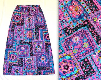 70s Vintage Qulited Maxi Skirt with Psychedelic Print// 70s Long Quilted Skirt Boho Folklore Print Medium