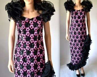80s Prom Dress Size Small Black And Pink Sequin Gown with Ruffles// 80s Metallic Party Dress by Alyce Designs Size Small Pageant Drag Dress