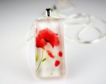 Red Poppy - Spring Flower - Recycled Glass Photo Pendant Necklace