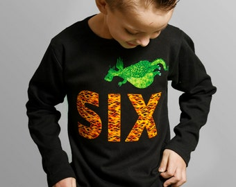 Boys 6th Birthday Shirt Applique Dragon Birthday Tshirt, Dragon Party Flame Letters, SIX Long Sleeve Ready to Ship