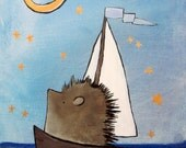 Hedgehog in Sailboat Nursery Art Print Kids Room Decor Whimsical Woodland Animal