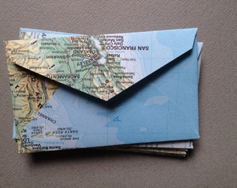 "Mini Map Envelopes - World Atlas Map Envelopes- Size 2 1/4"" x 3 1/2""- Upcycled Map Envelopes"