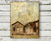 "Contemporary Mixed Media Art Painting: 11x14 Mixed Media Art, Vintage Infused Art, Original Art, sepia, brown, light blue, ""Ghost Town"""