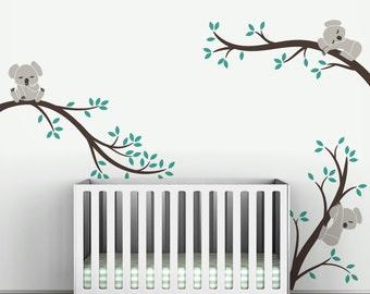 Koala Wall Decal Sleeping Koalas on Tree Branches Baby Nursery Modern Decor by LittleLion Studio