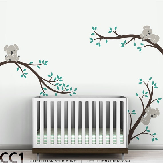 Koala Wall Decal Sleeping Koalas on Tree Branches Baby Nursery Modern Decor by LittleLion Studio