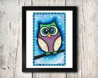 Whimsical Owl at night - mixed media A4 print