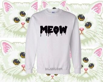 White Meow Soft Sweatshirt All Sizes