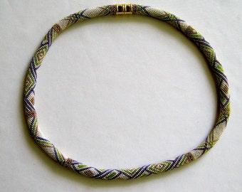 Bead Crochet Necklace Pattern:  Chelsea Morning Bead Crochet Sampler Necklace Pattern