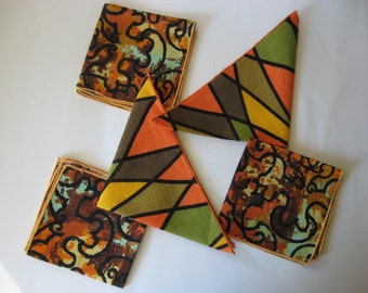 Set of 5 random vintage barkcloth napkins tiki floral diamond eames yellow orange green brown aqua
