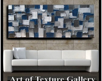 70 x 28 HUGE Custom Original Abstract Texture White Silver Navy Blue Charcoal Gray Modern Oil Painting by Je Hlobik