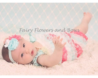 Clearance.. Aqua, Strawberry and White  Lace Pettiromper with Matching Headband  (Infant, Toddler)  Photo Prop