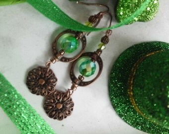 Green Earrings, St. Patrick's Day Earrings, Emerald Green Earrings, Fire Polished Fairy Tale Beaded Green Earrings, Irish Earrings