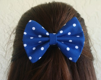Royal Blue with Polka Dots Hair Bow or Hair Clip Girl Teen Woman Alligator Clip, French Barrette