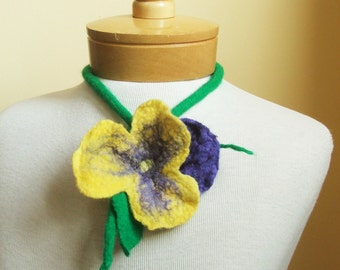 Pansy Felted  flower  Merino wool necklace  OOAK ,