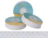 White with Metallic Gold Dots - Fold Over Elastic - 5 YARDS