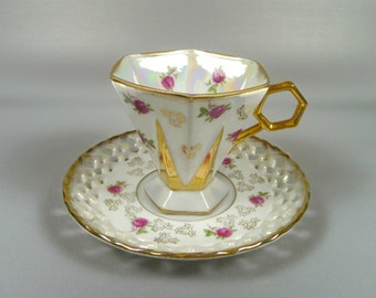 Vintage Tea Cup and Saucer Royal Sealy Lusterware Pink Roses Reticulated Saucer Hexagon
