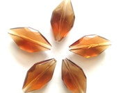 Upcycled Supplies - 5 Large Amber Acrylic Facet Diamond Beads