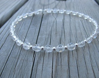 Clear and Silver Beaded Ankle Bracelet