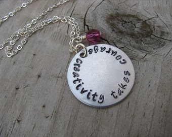"""Inspiration Necklace- """"creativity takes courage"""" with an accent bead in your choice of colors- Hand-Stamped Jewelry"""