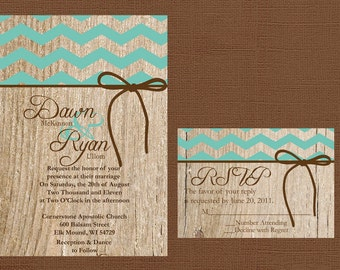 Chevron Wedding Invitation, Rustic Wedding Invitation, Vintage Wedding Invitation, Western Wedding Invitation