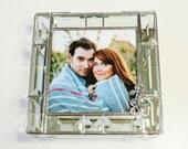 Stained Glass Keepsake Beveled Memory Box 7x7x2 Wedding Invitation Bride Groom Photograph Bat Mitzvah Custom Made-to-Order