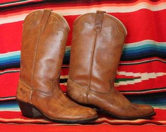 Acme Dingo Brown Leather Cowboy Boots  Mens Size 9 D
