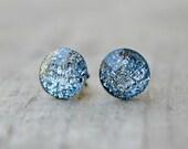 Titanium  Earrings, Light Blue Glitter Jewel, 10 mm, Hypoallergenic