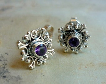 Amethyst studs, Post Earrings, snow flaxes studs, Sterling Silver studs, Silver Filigree Studs, Filigree Earrings, dainty Studs, Small Posts