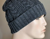 Mens hat Mens Winter Hat Cabled Mens Hat Slouchy Hat Winter Adult Teen CHOOSE COLOR Black Gray Mens Christmas Gift