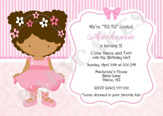 African American Ballerina Birthday Invitation Princess - DIY Print Your Own - Choose your girl - Matching Party Printables Available