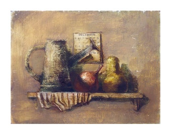 still life painting original art oil gardener watering can fruits calendar