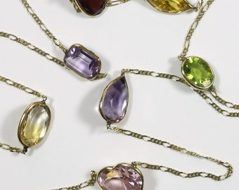 Lilly's Heart necklace for Mother from Italy ~14K Gold Bezel Precious Multi~color Gems ~ Amethyst, Peridot, Citrine, Garnet, Pink Topaz